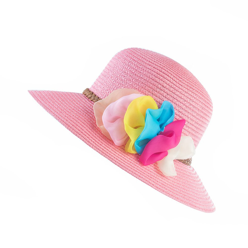 AOBRITON Summer Wide Brim Beach Women Sun Hat Elegant Straw Cap for Women Travel Vacation