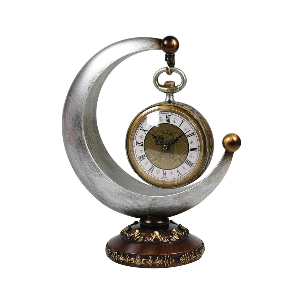 CFJRBクリエイティブアートマントル/マントルクォーツ時計三日月形アンティーク樹脂の居間デスク&棚時計の装飾 ( 色 : ライトグレー ) B07BLRYNGW ライトグレー ライトグレー