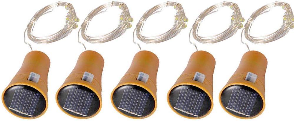 TwoCC Accesorios para el hogar, 5Pcs 2M Tapón de botella de vino de corcho solar Luces de hadas de alambre de cobre Lámparas de hadas (Blanco)