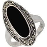 Esse Marcasite femme  Argent 925/1000  Argent #Silver Ovale   Noir Onyx Markasit FINERING