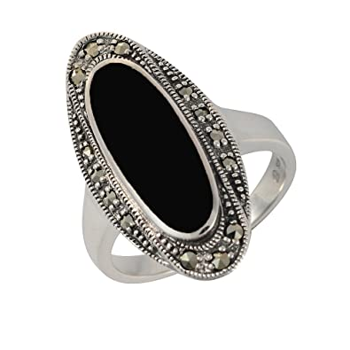 Esse Marcasite Sterling Silver Black Onyx and Marcasite Art Deco Ring 7ERZZU