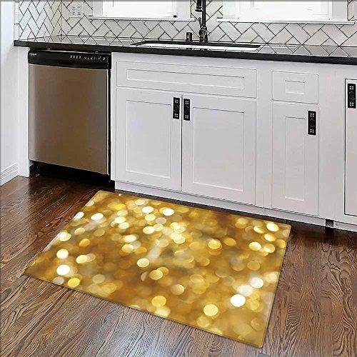 (Non-Slip Thicken Carpet Golden Light Background Easier to Dry for Bathroom W24 x H18)