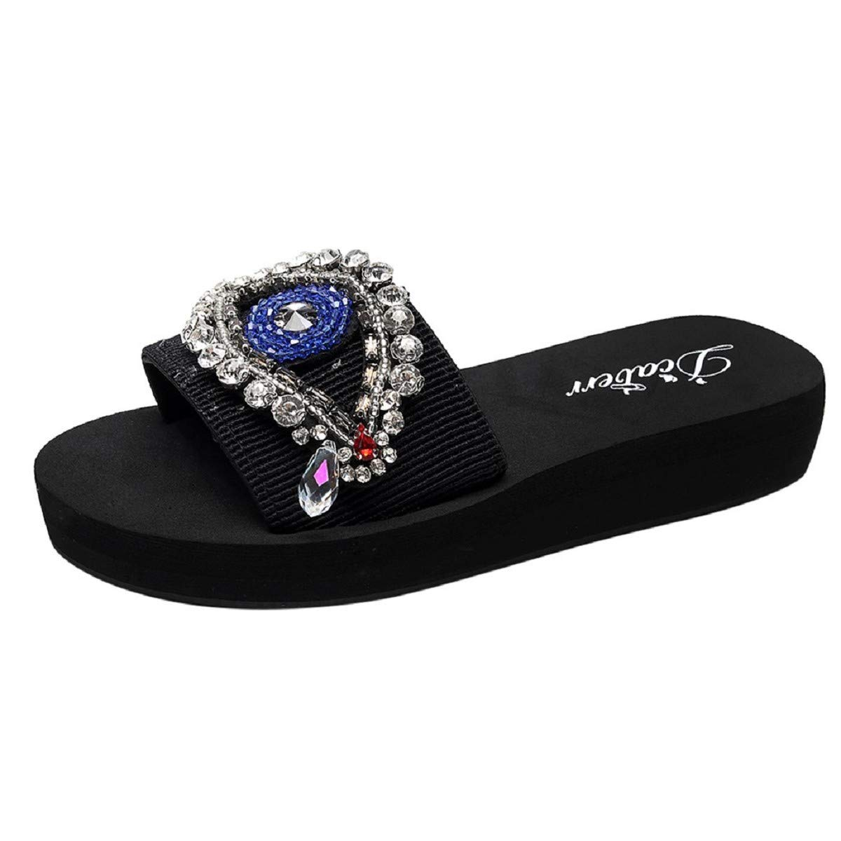 OTINICE Women Sandals Hand-Made Eyes Pattern Crystal Wedge Non-Slip Flip Flops Slippers Beach Shoes Black