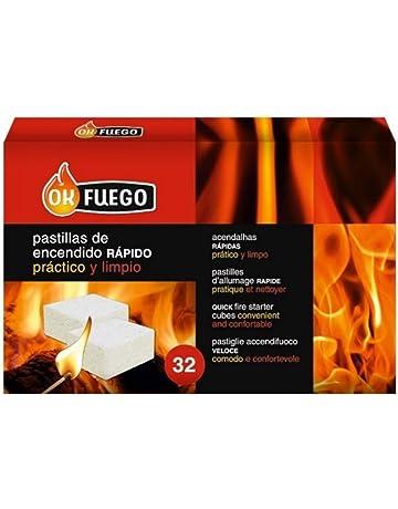 Caja 32 pastillas para encender fuego rápido y limpio leña y carbón OK FUEGO