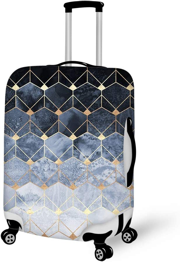 Luggage Cover Blue Hexagons And Diamonds Protective Travel Trunk Case Elastic Luggage Suitcase Protector Cover