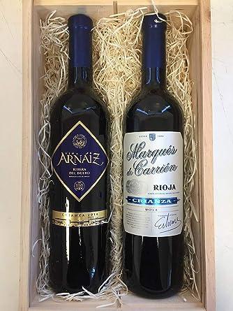 Cesta de Navidad de Madera con Dos Botellas de Vino Tinto ...