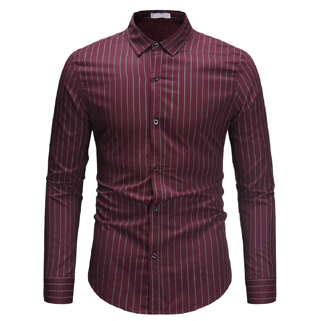 Comaba Mens Vertical Stripes Square Collor Spring//Fall Long-Sleeve Longshirt