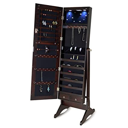 GLS Brown Free Standing Mirrored Jewelry Armoire Wood With LED Light And  Lock