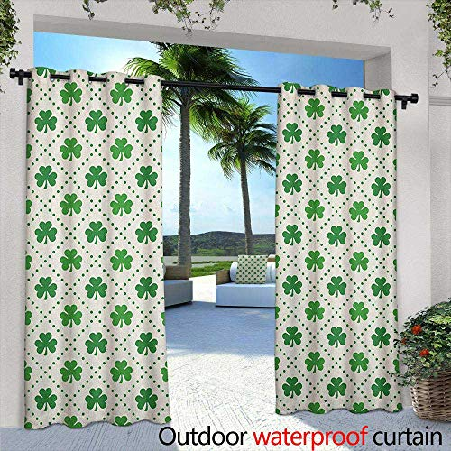 LOVEEO Irish Outdoor Curtains Four Leaf Shamrock Clover Flowers with Dotted Dashed Lines National Culture Symbol Embossed Thermal Weaved Blackout 84