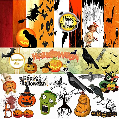 Halloween Scrapbook Kit: 94 PNG Clipart Images, 8 Paper Backgrounds in 8 x 8 and 12 x 12