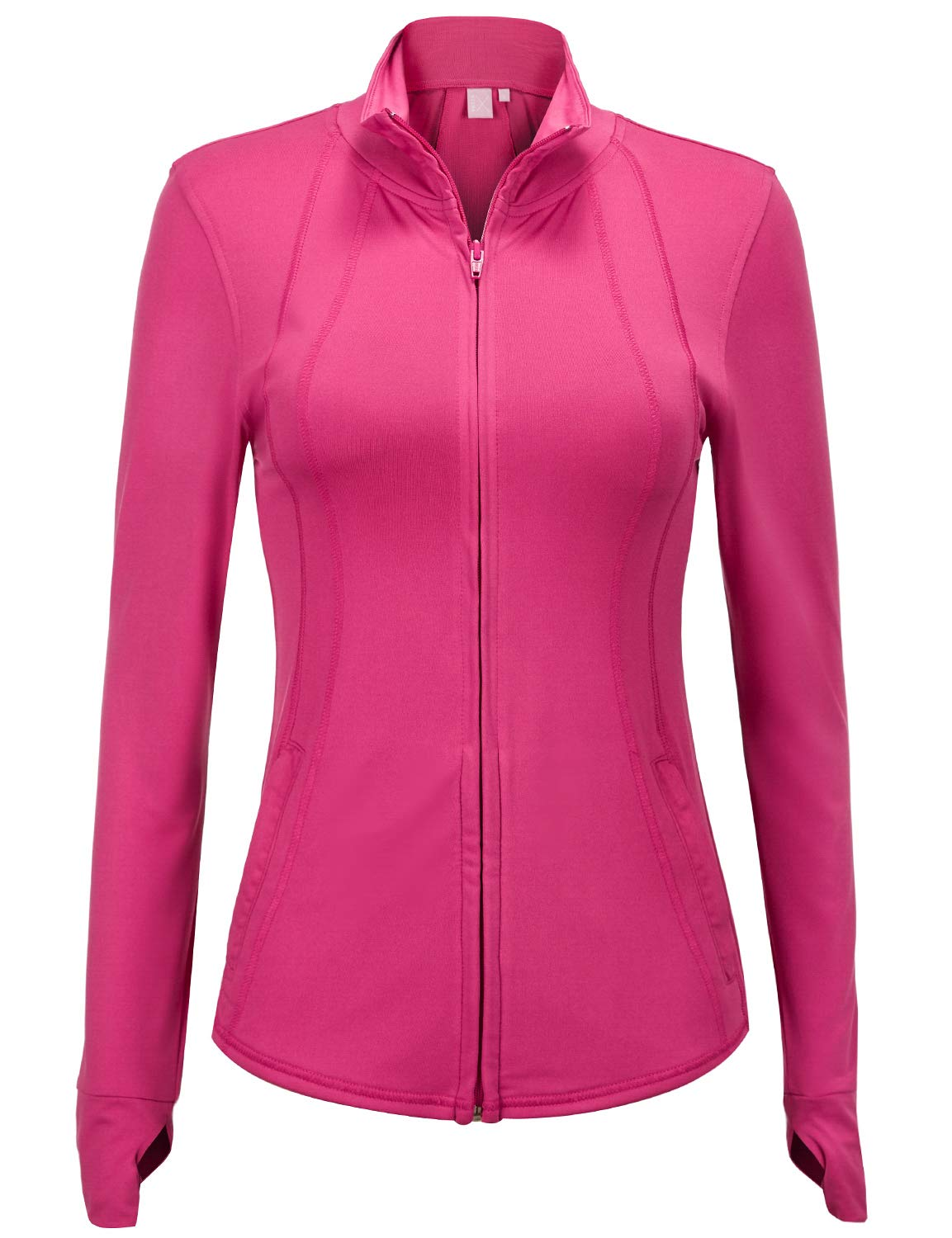 Regna X Women's Full Zip Up Workout Yoga Stretchy Fitness Track Jacket Pink 3XL