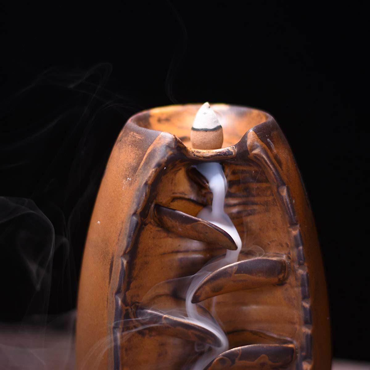 Mayco Bell Backflow Incense Burner Home Decor Ceramica Fumo Cascata Porta incenso Buddista Aroma Censer 10PCS incenso