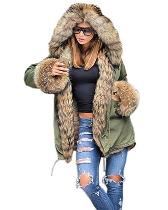 roiii Winter Women Parka Jacket Coat Black Shade Faux Fur Hooded ...