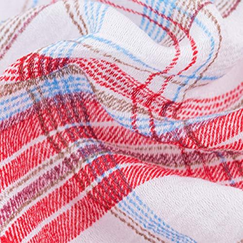 cossais Longue Tops Les Petit Irrgulier Longues Carreaux Robe Tops Lache Chemisier Coton Style Blouse Femmes Manches Rouge Chemises Casual Chemises pour Plaid Lattice Dames Mode Ami wq1anCzxYg