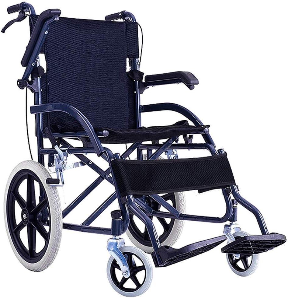 Y-L Ligero Conducción en Silla de Ruedas Médico Suministros Médicos para Adultos, Silla de Ruedas Portátil Carros Viejos Discapacitados Pequeño Rueda Sólida Viaje
