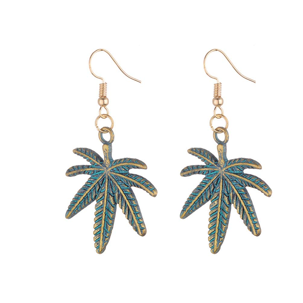 Eightgo Women's Vintage Palm Leaves Maple Leaves Ear Studs Earrings Hook for Party Club Jewelry(#01)