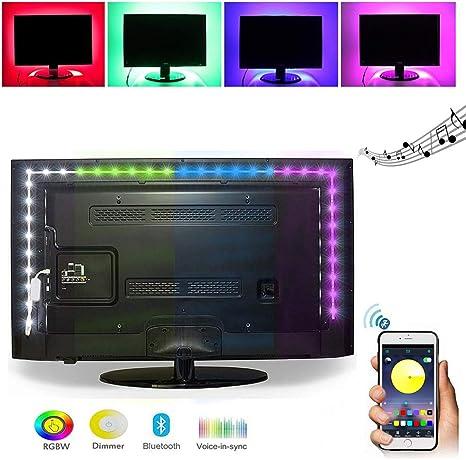 ELINKUME USB Equipo de retroiluminación de TV, 2M/6.56ft Tira de LED RGB con control inalámbrico de la aplicación de Bluetooth, Adecuado para HDTV/monitor de PC/cine en casa: Amazon.es: Iluminación