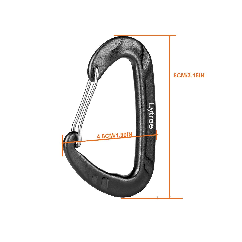 Lyfree 12KN Aluminium Wiregate Carabiners 2PCHeavy Duty Lightweight Carabiner Clips for Hammock