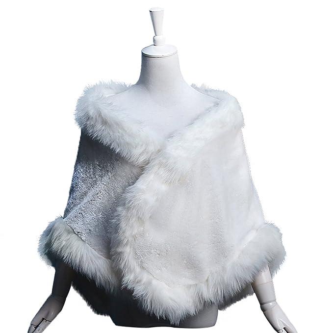 micbridal® piel sintética abrigo de invierno cálido chal para boda vestidos noche Blanco blanco: Amazon.es: Ropa y accesorios