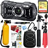 Ricoh WG-50 16MP Waterproof Digital Video/Still Camera with 2.7-Inch LCD Black (4573) + Selfie Stick + 32GB Deluxe Bundle