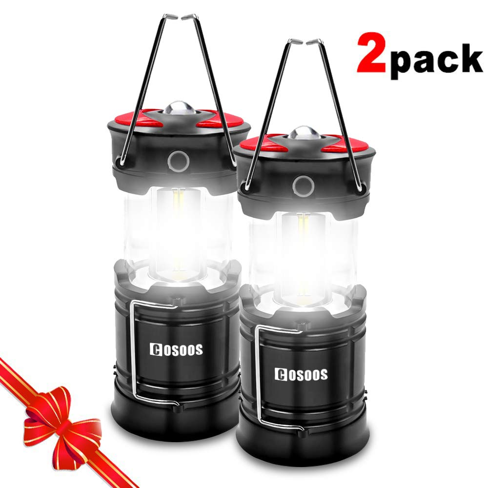 2 Pack Rechargeable Camping Lanterns, COSOOS LED Lantern Flashlight with Built in Battery, 4 Lightning Mode, Best for Outdoor, Emergency, Hiking, Hurricane, Power Outage(Charging Cables Included)