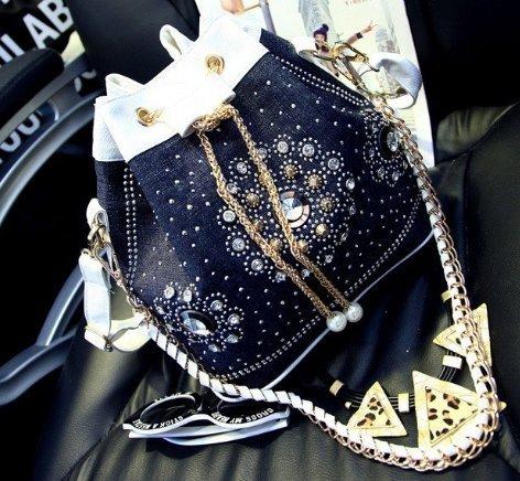 Women blue denim bags dark blue shoulder handbags fashion chain bucket bag drawstring studded handbag White Studded Drawstring