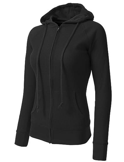 e68c443e0b Amazon.com  NE PEOPLE Women Casual Light Weight Thermal Plain Hoodie ...