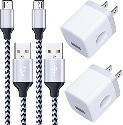 Android Charger Cable HI-CABLE Micro USB Cable Black with 2-Pack Dual Port USB Wall Charger Fast Charging Compatible with Samsung Galaxy S7 S6 J8 J7 Note 5,Kindle,LG,PS4,Camera 2 Pack//6FT