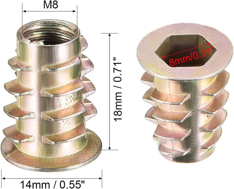uxcell Threaded Insert Nuts Zinc Alloy Hex Socket M8 Internal Threads 18mm Length 10pcs