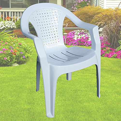 Indoor & Outdoor White Plastic Lawn Chairs Garden Patio Armchair Stacking Stackable (1)