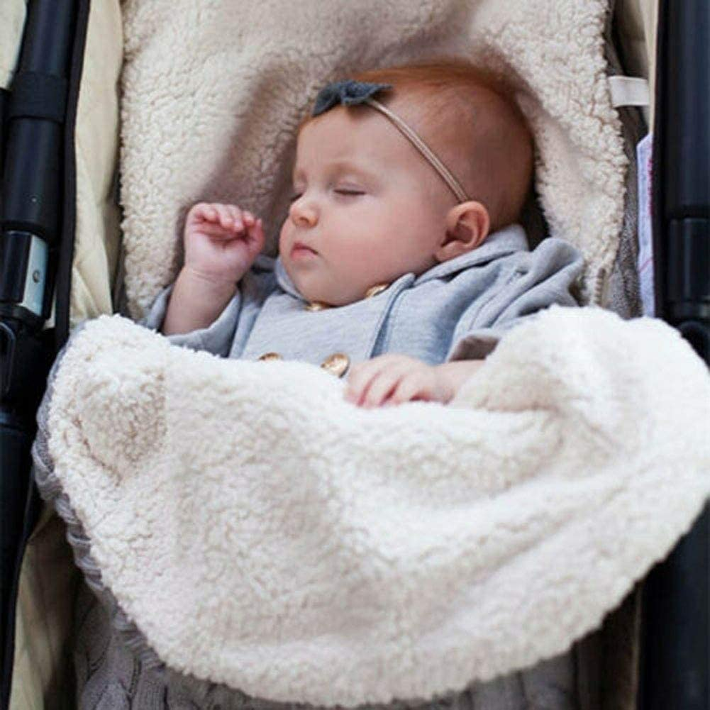 Baby Knitted Swaddle Stroller Wrap Car Seat Sleeping Bag Universal Baby Footmuff Liner Pushchair Stroller Buggy Pram Cosy Toes Car Seat
