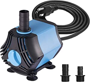 KEDSUM 400GPH Submersible Water Pump(1500L/H,40W), Ultra Quiet Submersible Pump, Fountain Pump-7ft High Lift, 6.6ft Power Cord, 3 Nozzles for Fish Tank, Pond, Aquarium, Statuary, Hydroponics