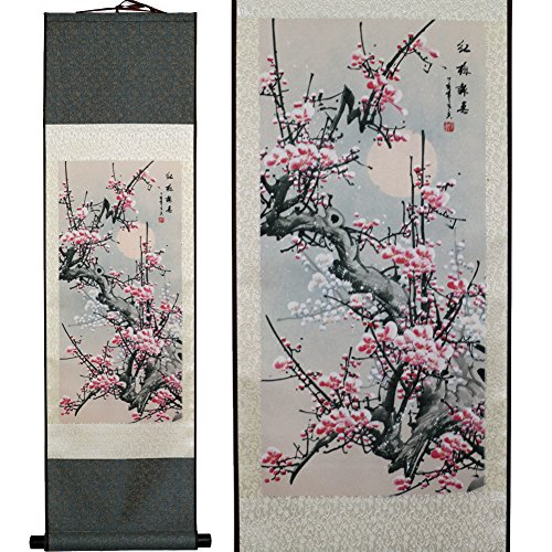 SweetHome Asian Silk Scroll & Picture Scroll & Wall Scroll Calligraphy Hanging Artwork (Plum Blossom)