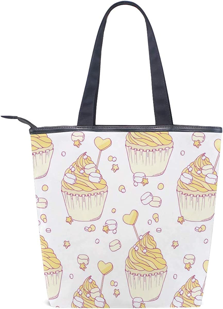 Yellow Marshmallow Cake Decorations Casual Style Lightweight Canvas Backpack School Bag Handbag Work Bag Shoulder Handbag Travel Bag