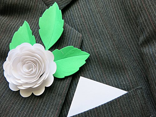 White Carnation Paper Flower Boutonniere, Wedding, Lapel Pin, Classic Scalloped Rose