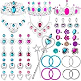 WATINC 48Pack Princess Pretend Jewelry Toy,Girl's Jewelry Dress Up Play Set,Included Crowns, Necklaces,Wands, Rings,Earrings and Bracelets,48 Pack