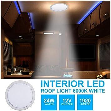 HugeAuto - Lámpara de techo LED para interior de techo, luz blanca cálida, 12 V CC, 24 W, luz brillante para caravana, autocaravana, barco, cocina, sala de estar, forma de círculo, delgada: