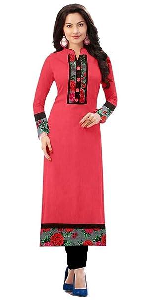 b0363a32eb7 kurtis ( kurti for women Cotton fabric Semi-Stitched Pink Kurtis For Women  Fancy And Party Wear ...