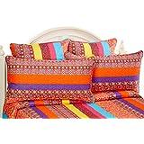 Lush Decor 5 Piece Boho Stripe Quilt Set, King, Fuchsia