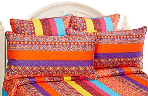 boho stripe fuchsia quilt set