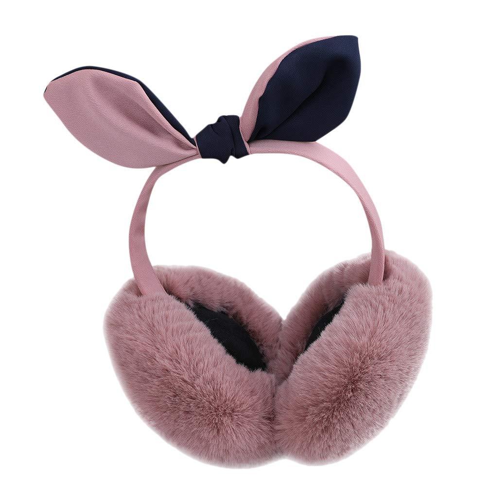 Women Girls Bowknot Fleece Plush Earmuffs Hairy Cute Winter Warm Warmers (pink)