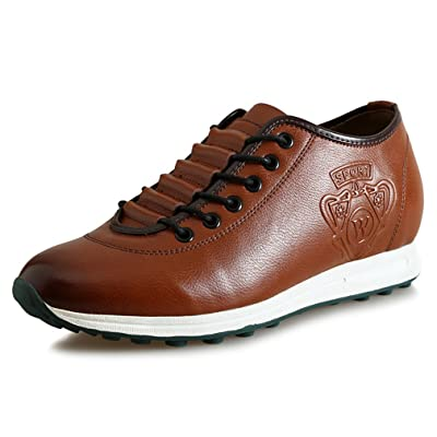2.36 Inches Taller-Genuine Leather Height Increasing Elevator Shoes Fashion Business Casual Shoes