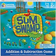Learning Resources Sum Swamp Game, Homeschool, Addition/Subtraction, Early Math Skills, Math Games for Kids, E