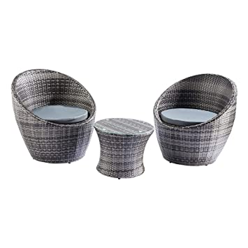 Trueshopping Toledo 3 Piece Rattan Egg Vase Set Bistro Garden ... on
