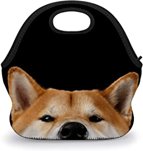 HEVANE Lunch Tote Bags, Peeking Shiba Inu Dog Reusable Insulated Tote Handbag Lunch Box Food Container, Durable Multi-function Waterproof Lunch Bag for Women Men Boys Girls