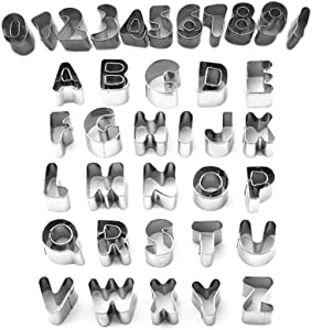Cookie Cutter Stainless Steel Alphabet Letter Number 0 to 10 Shape Cookie Cutter Mold DIY Cake Molds with Storage Box,Pack of 37 Pcs