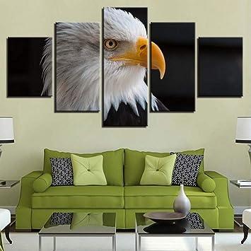 (Sin Marco) Cuadros Modulares De Arte Cuadros 5 Unidades Animal Pinturas Águila Blanca HD