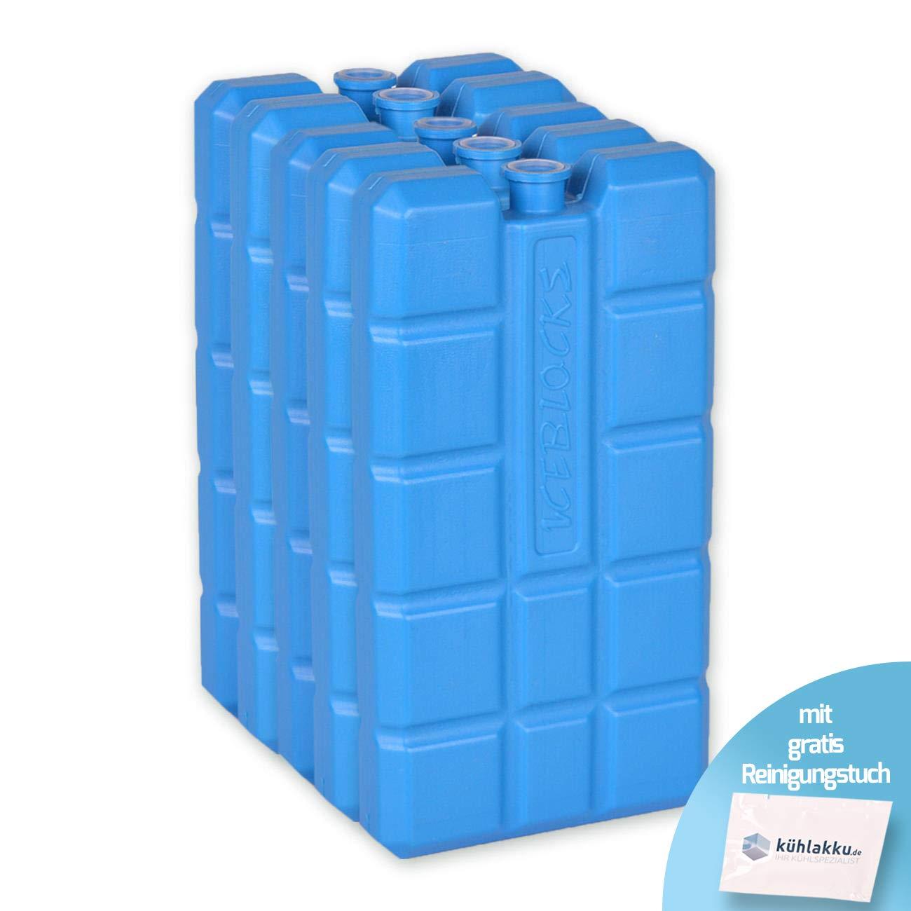 K/ühlakku 5er Pack 5 x 200g Iceblock K/ühlakkus f/ür K/ühltaschen oder K/ühlboxen blau mit gratis K/ühlakku Reinigungstuch 24h K/ühlleistung
