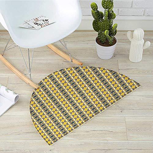 Geometric Half Round Door mats Ornate Curved Stripes in Circles Contemporary Abstract and Retro Style Bathroom Mat H 27.5