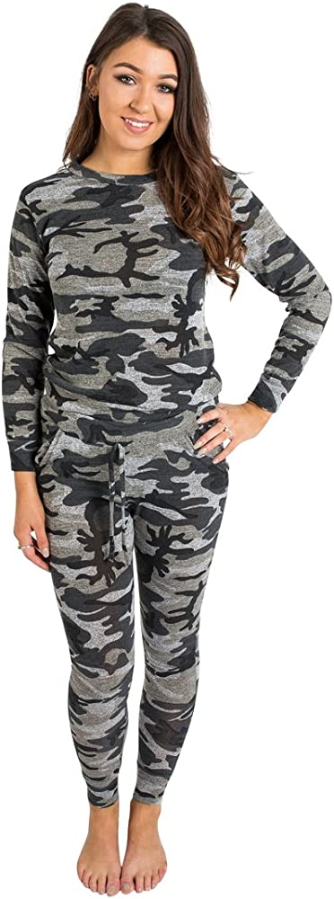 Womens Ladies Army Camo Print Tied Lounge Tracksuit Lounge Wear Plus Size